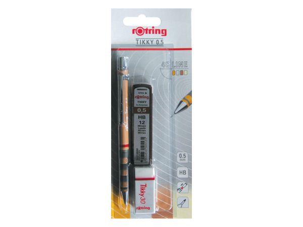 Комплект втоматичен молив Ротринг Rotring Tikky , 0.5 mm, графити и гума